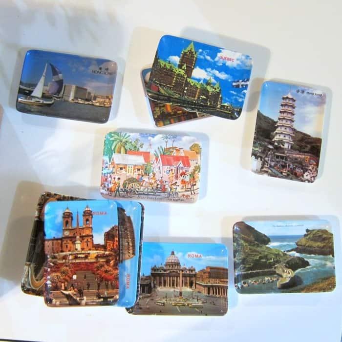 plastic plates tourist souvenirs.