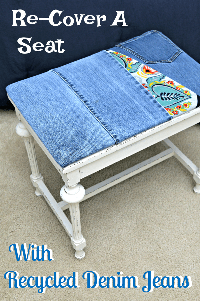 how to recover a seat with recycled denim jeans