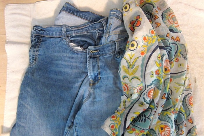 recycled denim jeans for craft projects or furniture projects