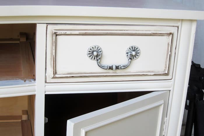 sideboard drawer painted and antiqued