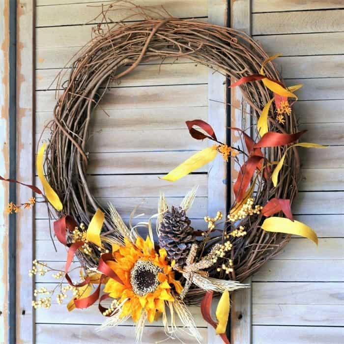 sunflower grapevine wreath, DIY Front Door Wreath