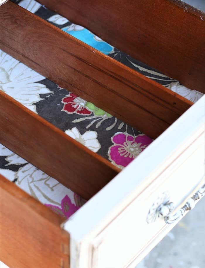 use pretty fabric as a drawer liner