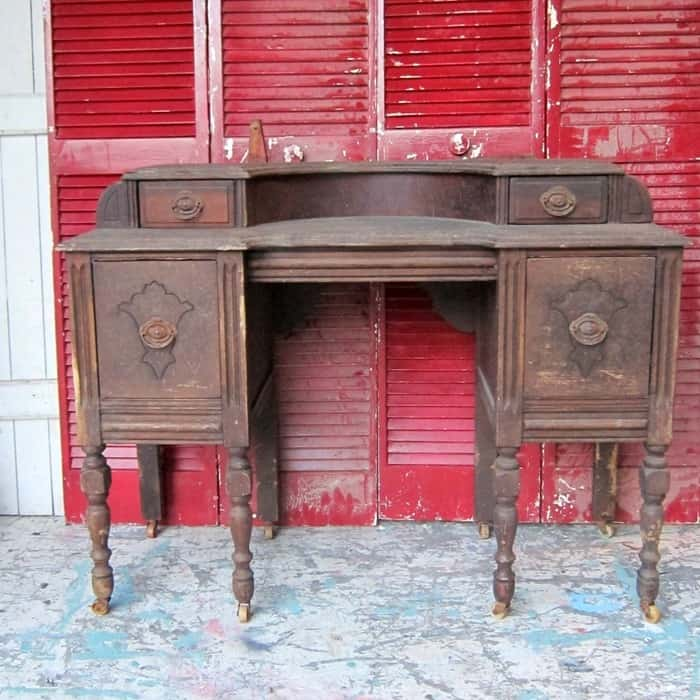 vintage vanity waiting for a paint makeover