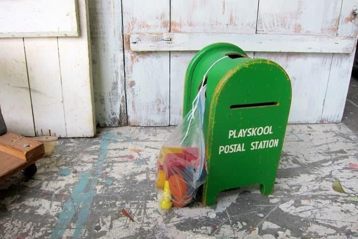 vintage wood mailbox toy