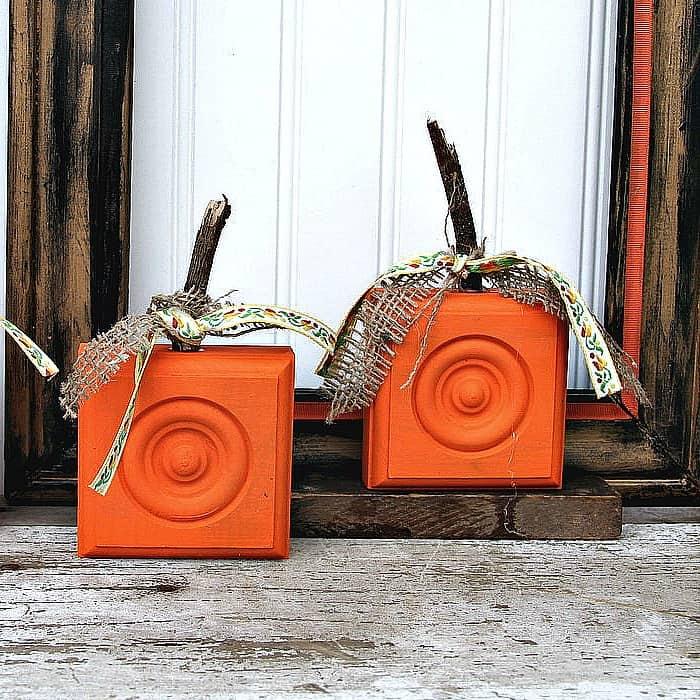 DIY Fall home decor ideas, wood corbel pumpkin diy