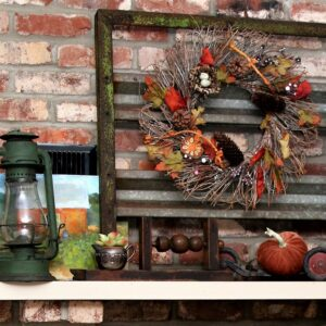 Imagine a rusty iron gate on your mantel