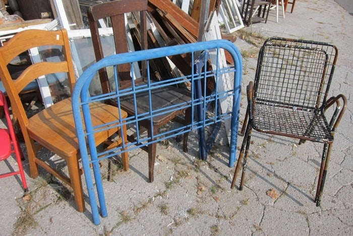 blue iron twin size bed