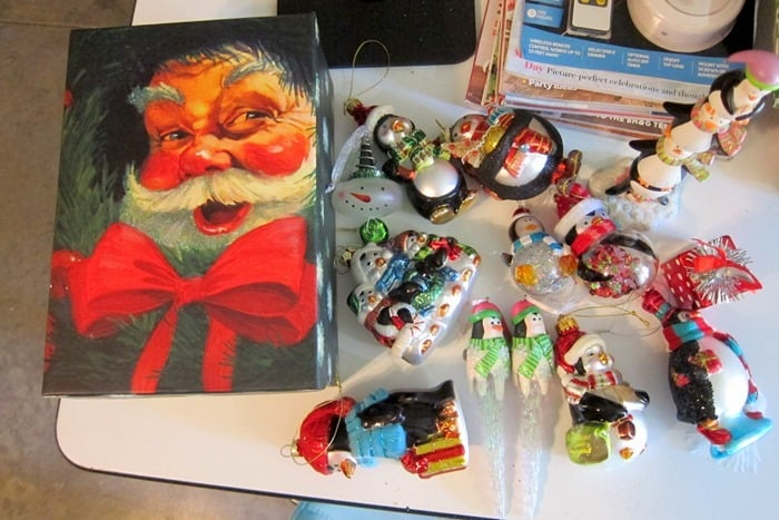box of Christmas ornaments from the Goodwill