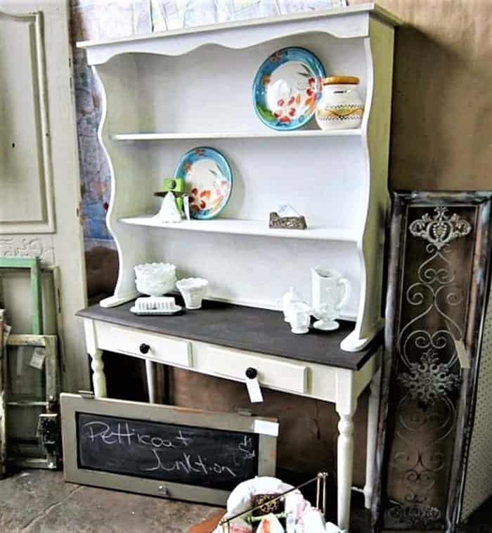 country style hutch painted white and brown