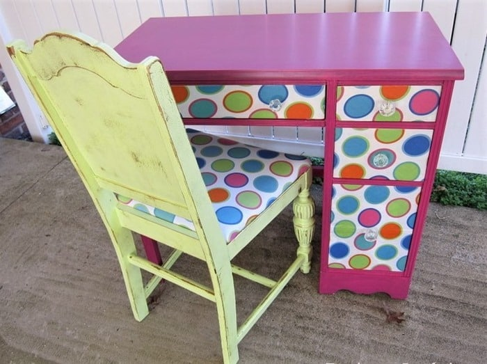 desk decoupaged with fabric and painted chair