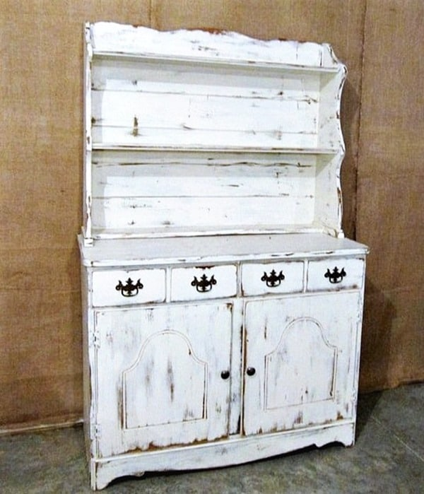 farmhouse style hutch painted white