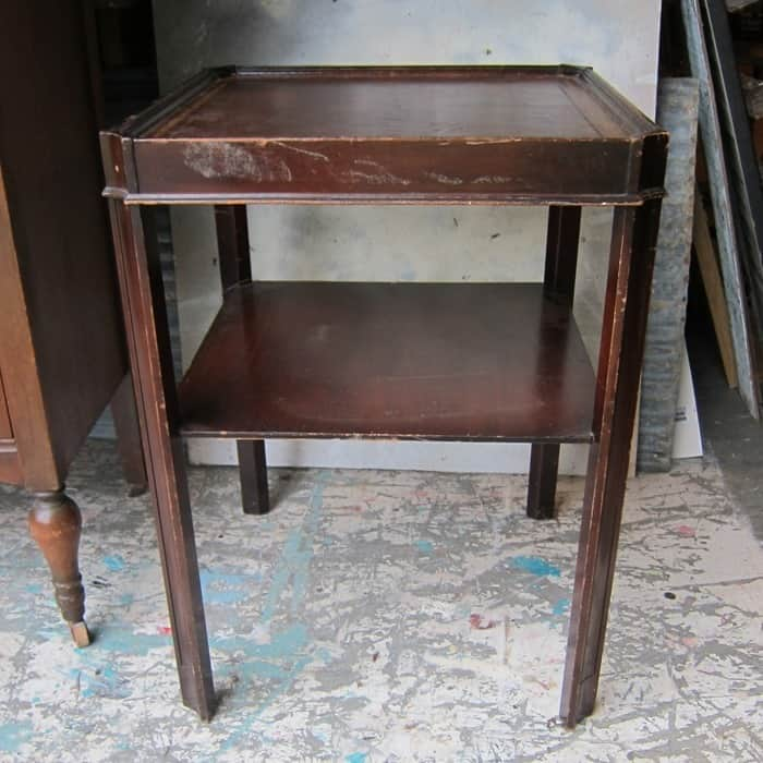 vintage leather top table with shelf