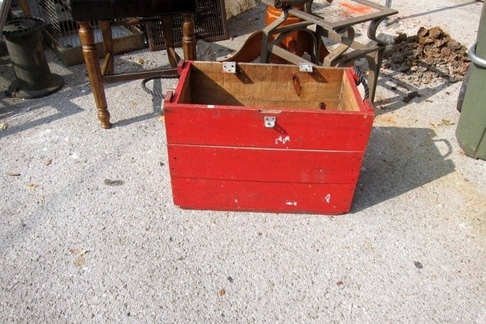 wood box painted red