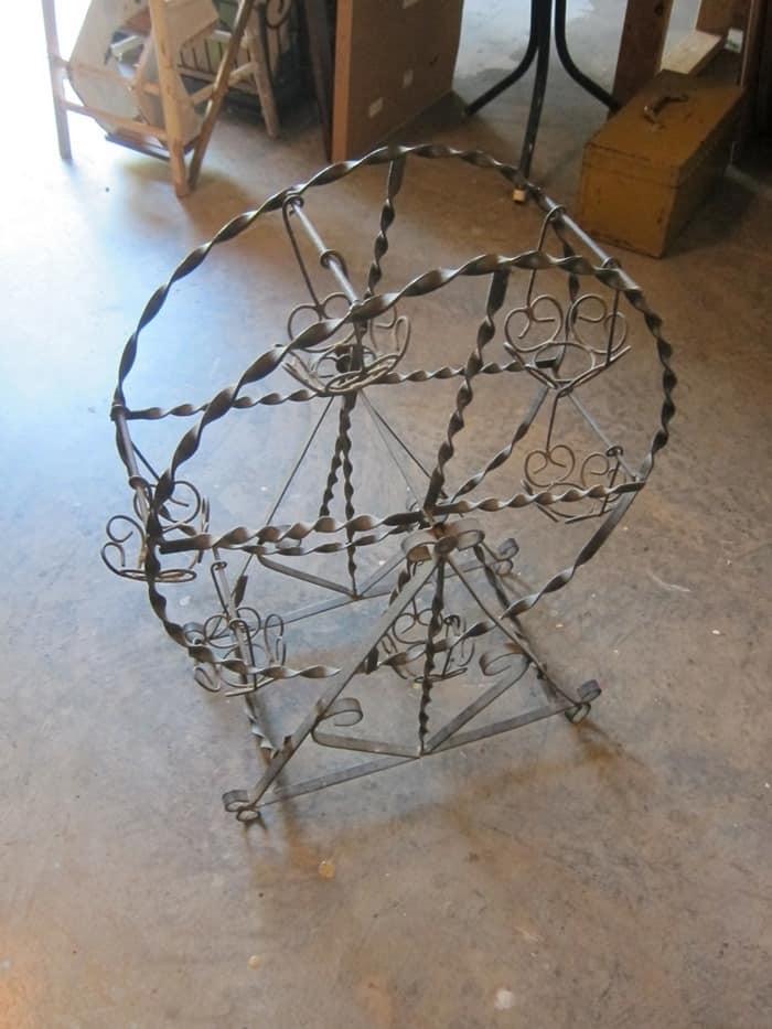 wrought iron Ferris Wheel planter