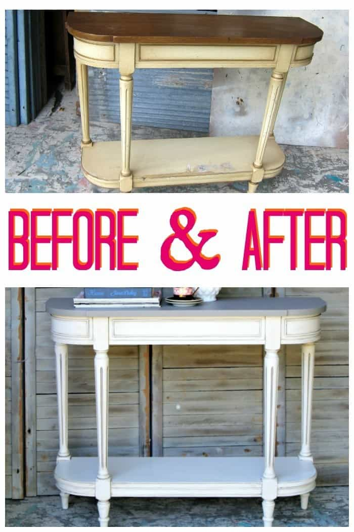 Before and after two color furniture makeover
