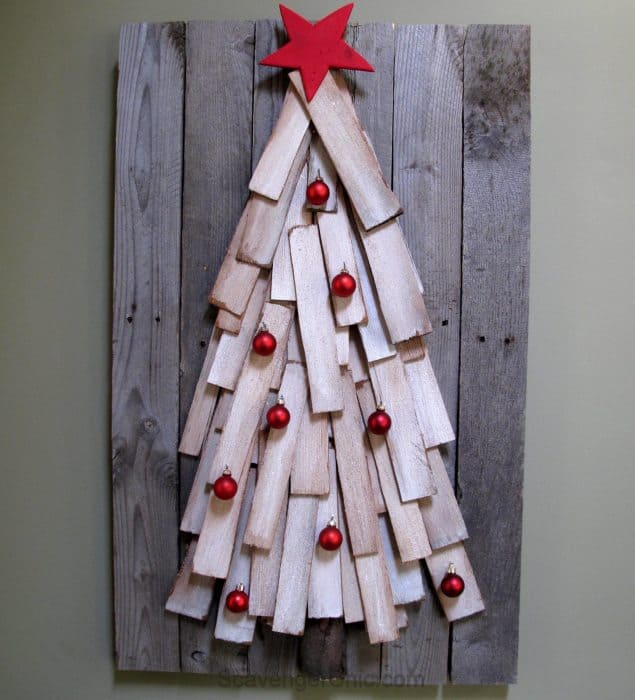 Pallet Wood Christmas Tree by My Repurposed Life, 150 Simple DIY Christmas Decorating Ideas