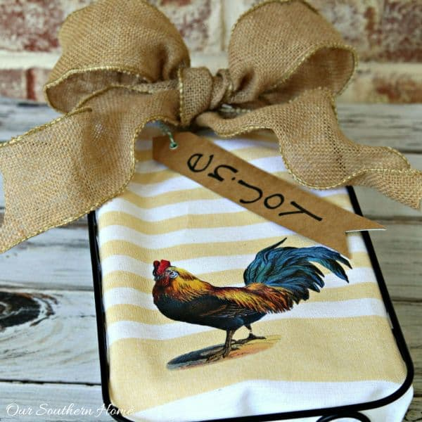 rooster dish towel idea