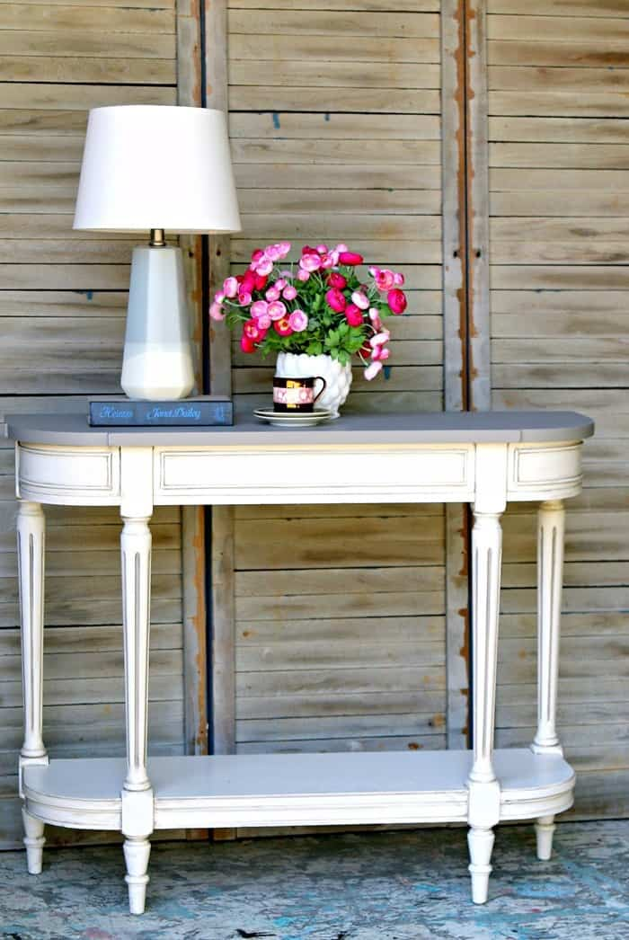 two color furniture paint project foyer table
