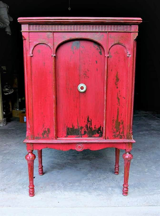 vintage furniture painted red with Miss Mustard Seed's Milk Paint