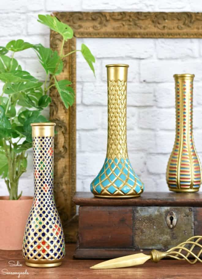cloisonné vase thrift store decor project Sadie Seasongoods, thrifty diy ideas