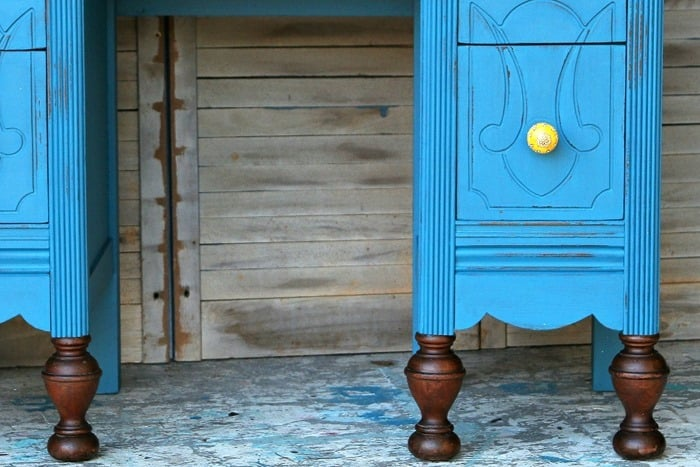 Save Stained Furniture Feet And Distress The Painted Dresser