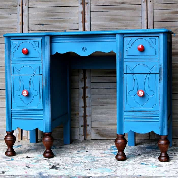 Vintage Vanity Makeover with blue paint and stained ball feet