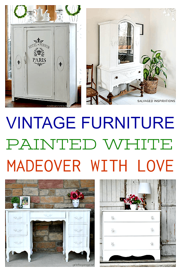 Vintage furniture painted white