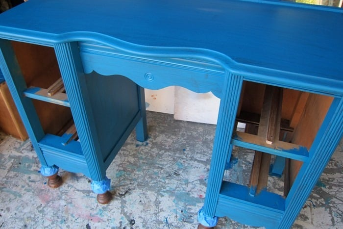 one coat of paint on furniture