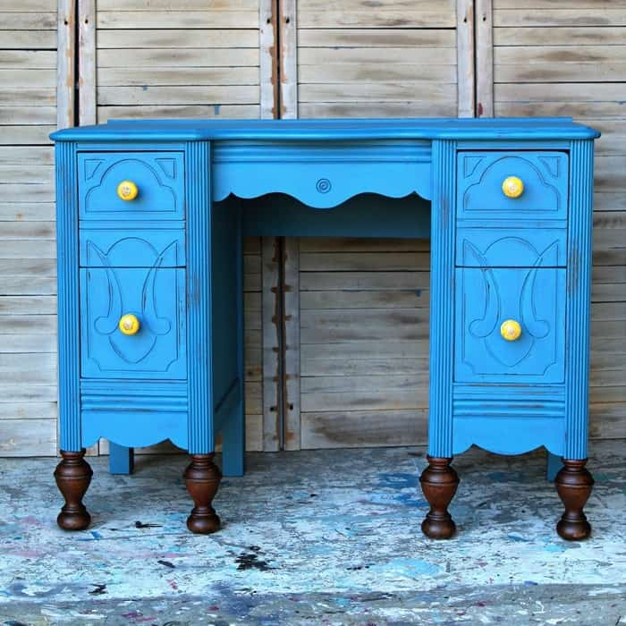 vintage vanity makeover how to cover furniture scratches and wet distress paint