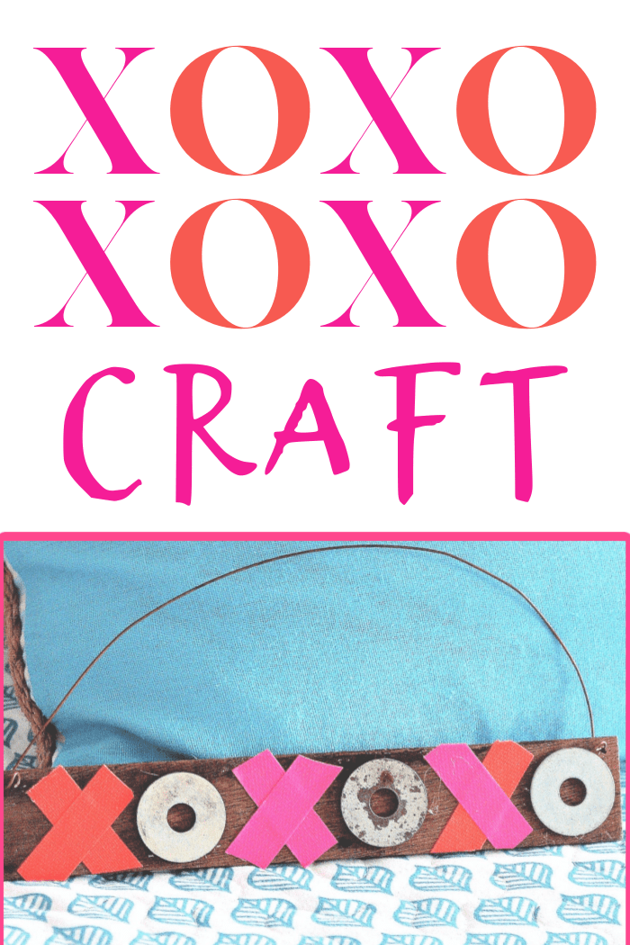 XOXO Hugs and Kisses Valentines Day craft using recycled and upcycled items