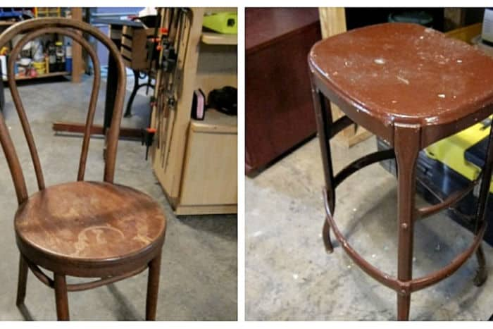chair and metal stool for a spray paint project