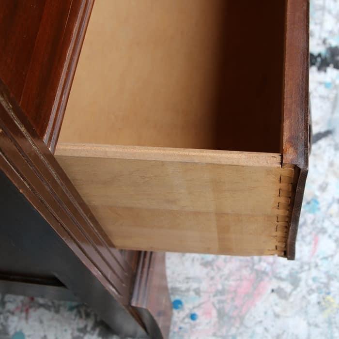 dovetail drawer on vintage dresser
