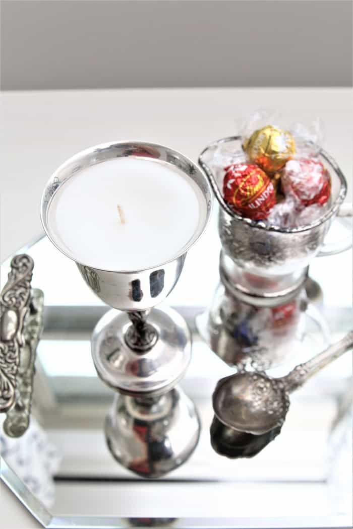 how to make a candle using recycled silver plate dishes