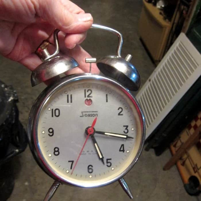 twin bell alarm clock bought at auction