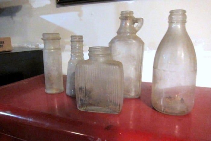 vintage clear glass bottles