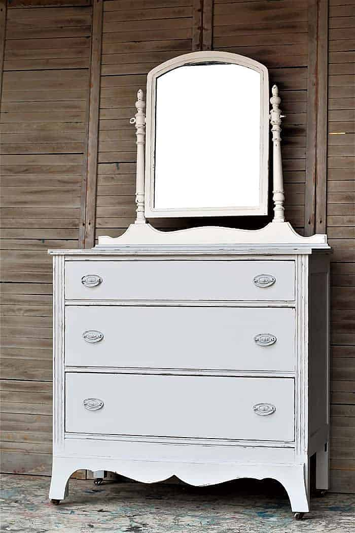vintage dresser -how to distress latex painted furniture with sandpaper
