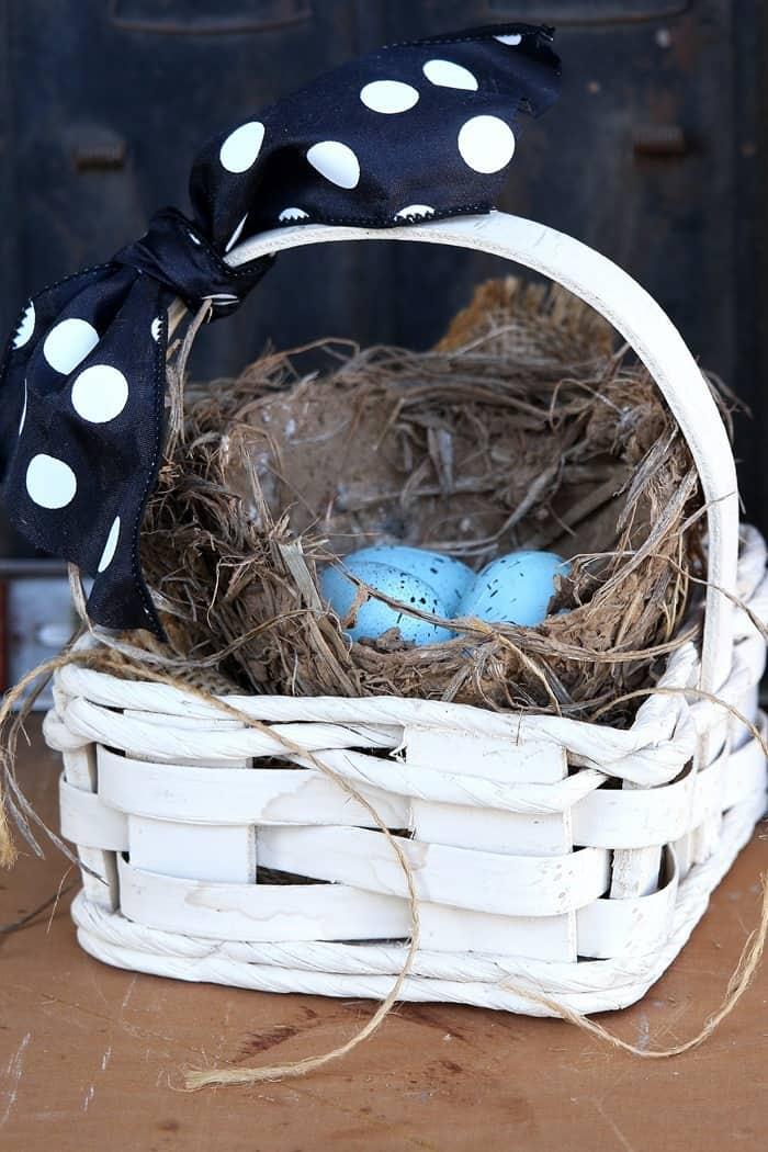 Bird Nest IN A Thrifty Basket Idea