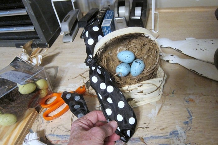 add ribbon to basket handle