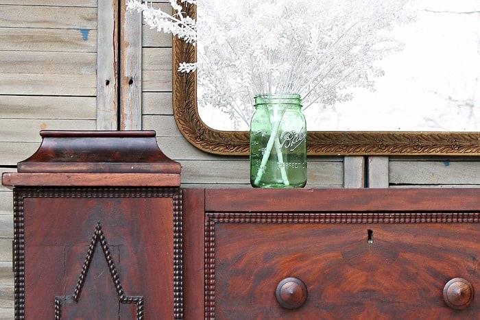 walnut wood antqiue Empire style dresser