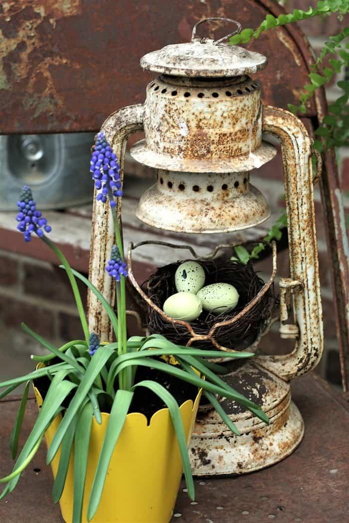 Rusty Lantern Bird Nest DIY Decor Display