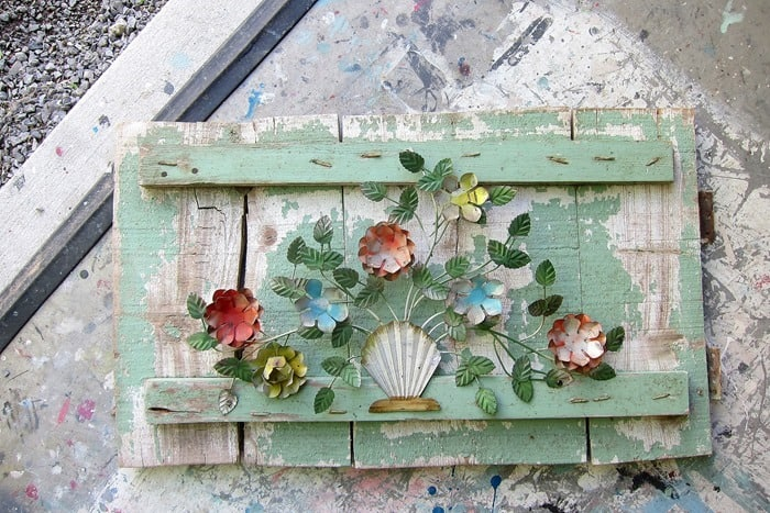 create unique wall or garden decor using vintage metal pieces and antique wood