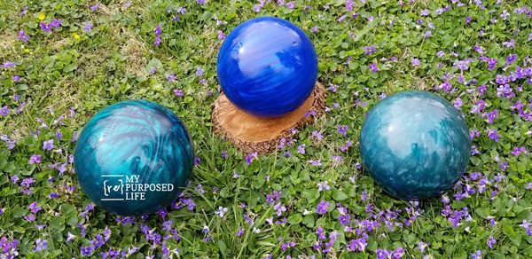 DIY Gazing Ball by My Repurposed Life, 150 DIY Outdoor Decorating Ideas On A Budget