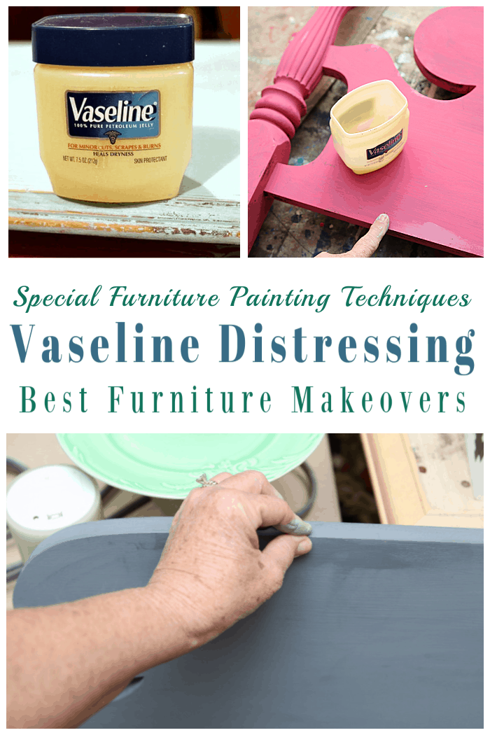 how to distress furniture using the Vaseline special paint technique