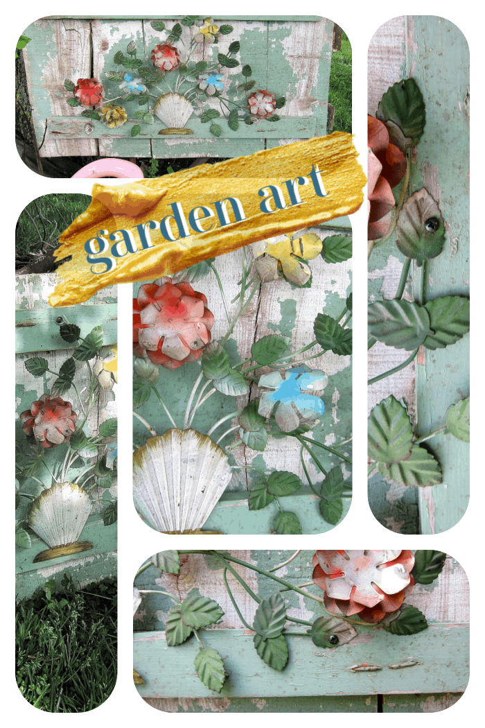 how to make garden art using vintage flowers and antique wood