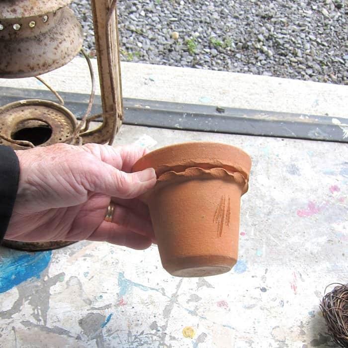 terra cotta pot for DIY bird nest project