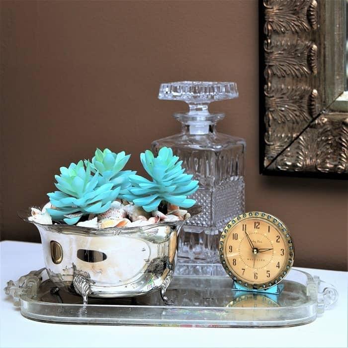 Silver Plate Succulent Planter Idea With Seashells