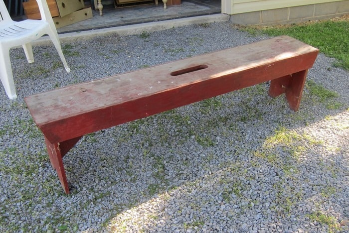 handmade bench bought at auction
