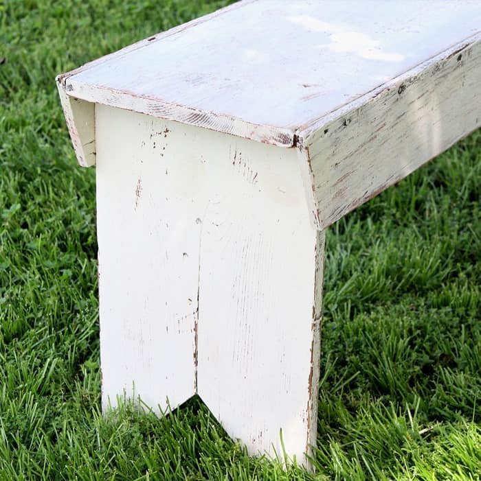 rustic bench painted white and distressed (10)