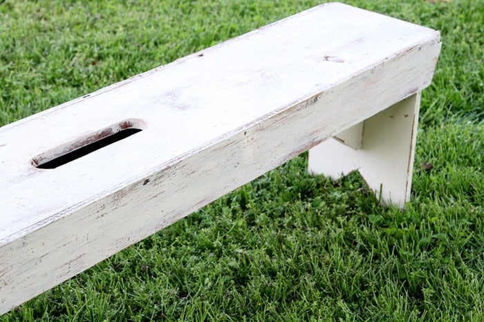 rustic bench painted white and distressed (4)