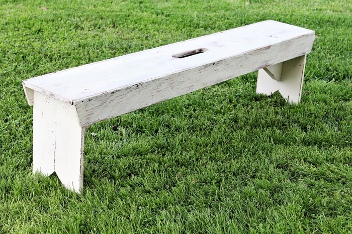 rustic bench painted white and distressed (8)